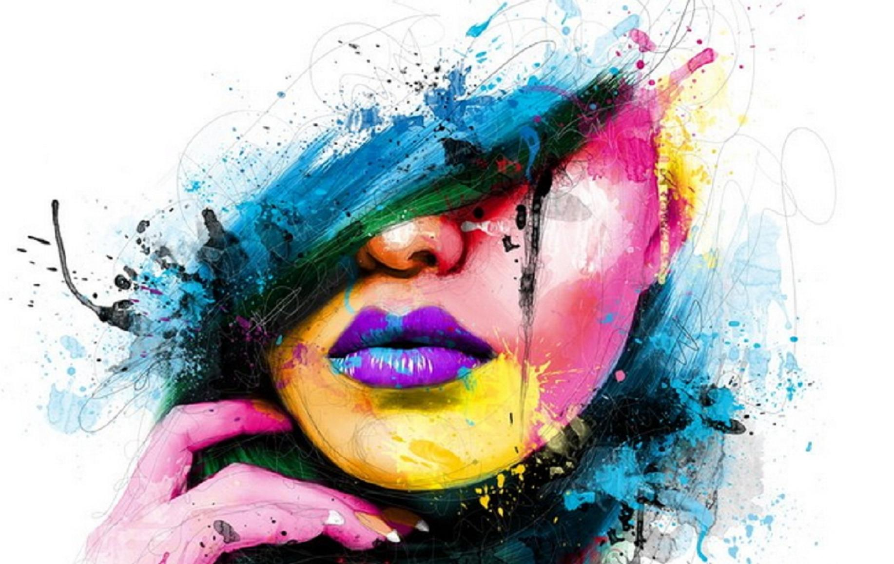 Beautiful Abstract Face Painting Woman Girl Hd Wallpaper 1572933