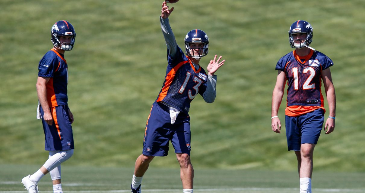 Denver Broncos quarterbacks Siemian and Lynch