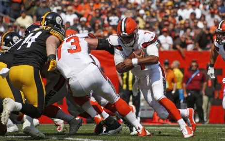 DeShone Kizer rushes for a touchdown in the first quarter against the Steelers. (Sept. 10 2017) Source: Justin K. Aller/ Getty Images North America
