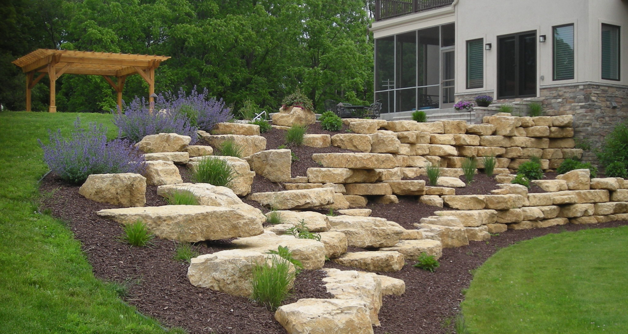 Natural Limestone Walls : Real estate does landscaping increase your home value