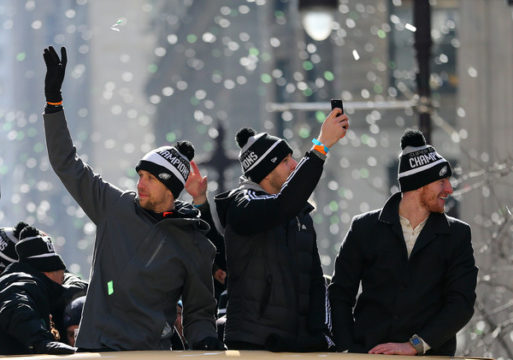 Carson Wentz celebrates with Nick Foles and Nate Sudfield (Feb. 8, 2018 - Source: Rich Schultz/Getty Images North America)