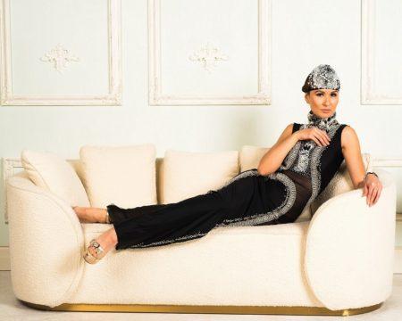 Vikki Lenola wearing Chavez Fashion. Preview of London Fashion Week.